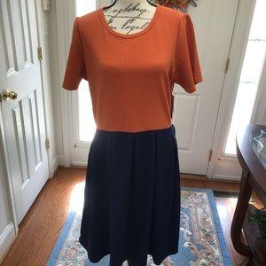 LuLaRoe Navy Blue & Orange Amelia Dress NWT